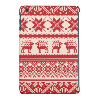 Red and Beige Ugly Christmas Sweater patterns iPad Mini Retina Case