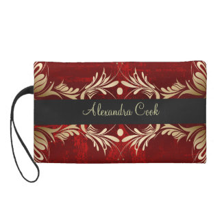 Red And Beige Vintage Floral Swirls-Monogram Wristlet