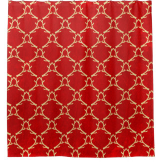 Red and Beige Woodland Antler Shower Curtain