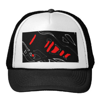 Red and black abstract art cap