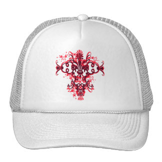 Red and Black Abstract Flourish Hat