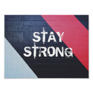 red and black abstract geometric / stay strong poster
