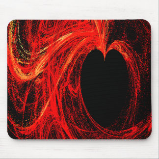 Red and Black Abstract Heart Art Mousepad