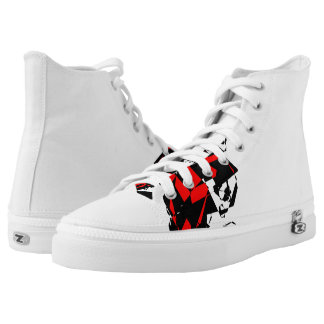 Red and Black abstract High top Printed Shoes