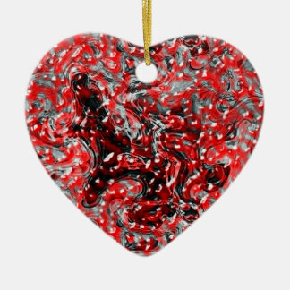 Red and Black Abstract Liquid Gore Ornament