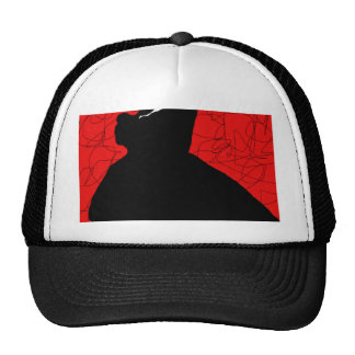 Red and black abstraction cap