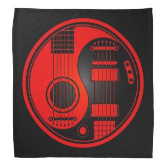 Red and Black Acoustic Electric Guitars Yin Yang Bandana