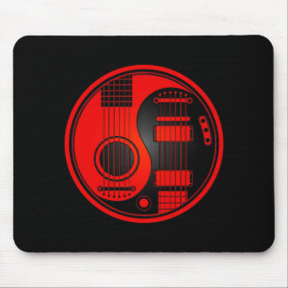 Red and Black Acoustic Electric Guitars Yin Yang Mouse Mat