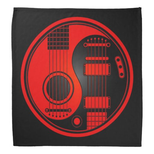 Red and Black Acoustic Electric Guitars Yin Yang Bandanna