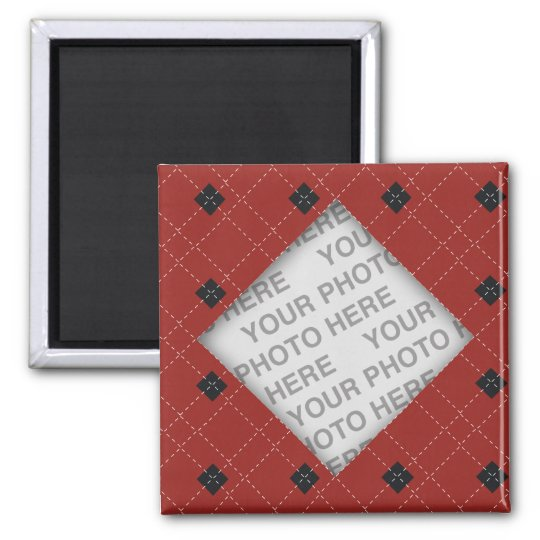 Red and Black Argyle Photo Magnet
