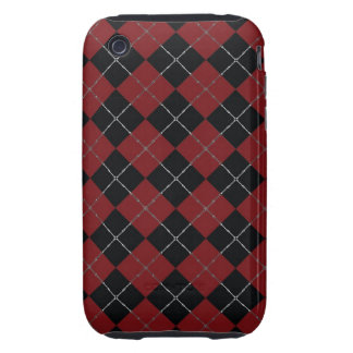 Red and Black argyle with bone detail iPhone 3 Tough Covers