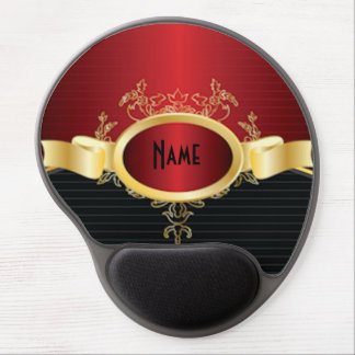 Red and Black Art Deco Personalized Gel Mousepad