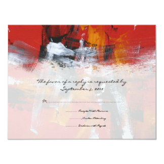 Red and Black Artistic Wedding RSVP 11 Cm X 14 Cm Invitation Card