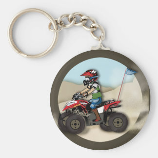 Red and Black ATV Kid Basic Round Button Key Ring