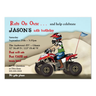 Red and Black ATV Kid Invitation