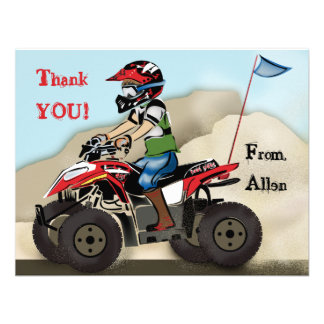 Red and Black ATV Kid Note Card Custom Announcements