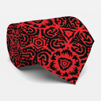 Red and Black Bold Dramatic Geometric Abstract Tie