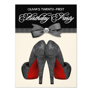 Red and Black Bow Tie Womans Birthday Party 17 Cm X 22 Cm Invitation Card