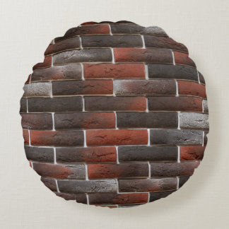 RED AND BLACK BRICK WALL ROUND CUSHION