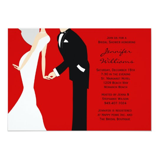 Red and Black Bride and Groom Wedding Shower Card