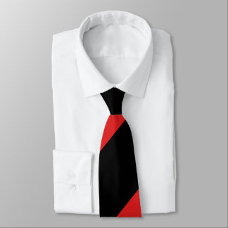 Red and Black Broad Regimental Stripe Tie