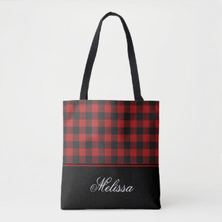 Red and Black Buffalo Check Gingham | Personalized Tote Bag