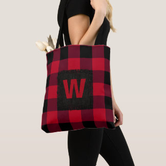Red and Black Buffalo Check Monogram Tote Bag