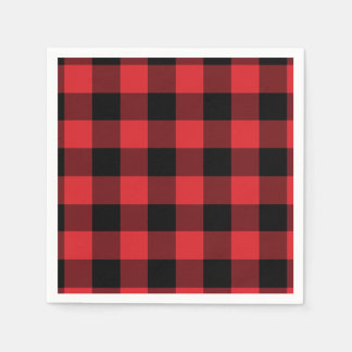Red and Black Buffalo Check Pattern Disposable Serviette