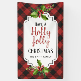 Red and Black Buffalo Plaid  Christmas Banner