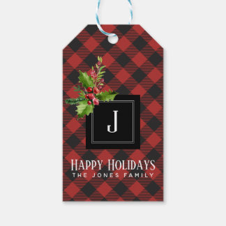 Red and Black Buffalo Plaid  Christmas Monogram Gift Tags