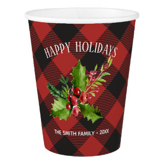 Red and Black Buffalo Plaid  Christmas Paper Cup
