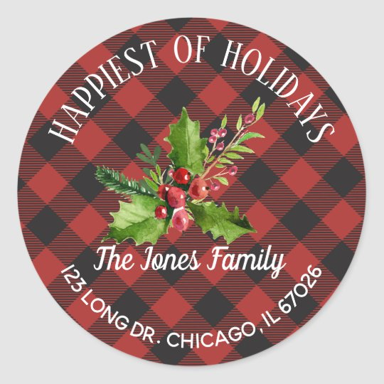 Red and Black Buffalo Plaid Classic Round Sticker