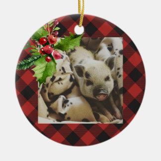 Red and Black Buffalo Plaid  Holidays Photo Christmas Ornament