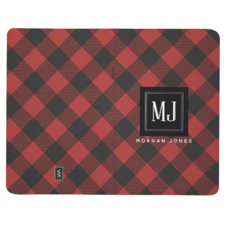 Red and Black Buffalo Plaid Monogram Journal