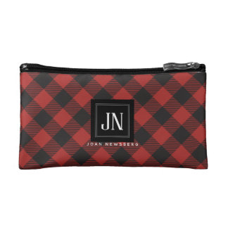 Red and Black Buffalo Plaid Monogram Makeup Bag