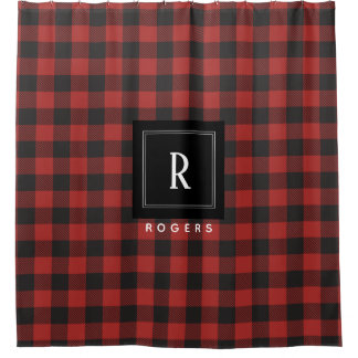 Red and Black Buffalo Plaid Monogram Shower Curtain