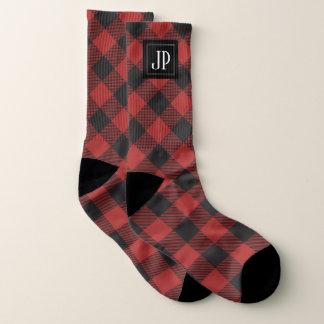 Red and Black Buffalo Plaid Monogram Socks