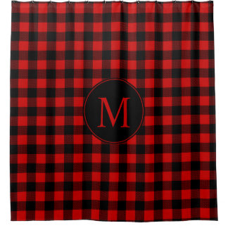 Red and Black Buffalo Plaid with Monogram Shower Curtain