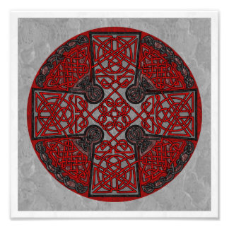 Red and Black Celtic Cross Medallion Photo Print