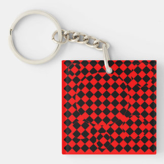 Red and black checker board optical illusions key Double-Sided square acrylic key ring
