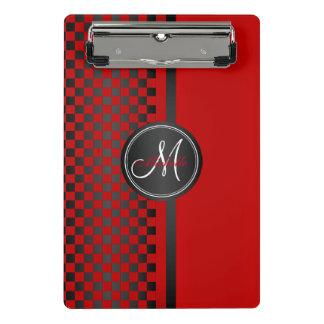Red and Black Checkerboard - Monogram Mini Clipboard