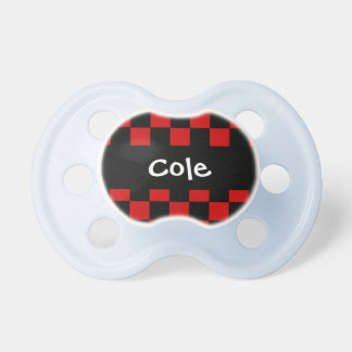 Red and Black CHECKS Baby Boy Custom Name V03 Pacifiers
