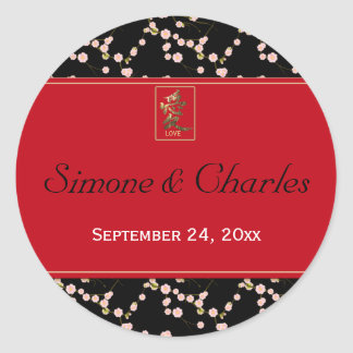 """Red and Black Cherry Blossoms 1.5"""" Round Sticker"""