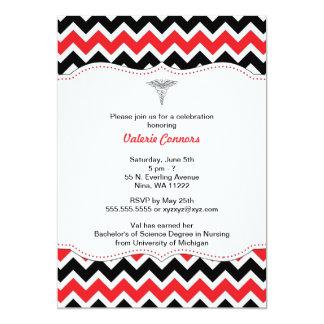 Red and Black Chevron Nurse Graduation Invite RN