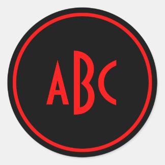 Red and Black Circle Monogram Classic Round Sticker