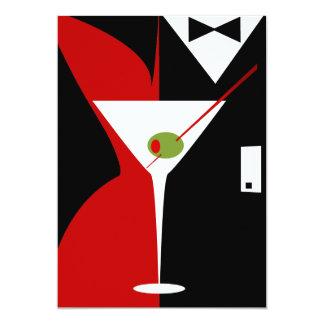 Red and Black Classy Martini Cocktail 13 Cm X 18 Cm Invitation Card