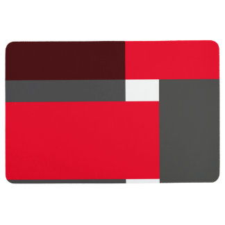Red and black color blocks floor mat