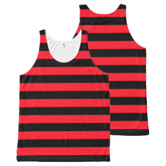 Red and Black Coloured striped pattern All-Over Print Tank Top