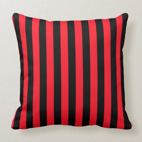 Red and Black Coloured striped pattern Cushion