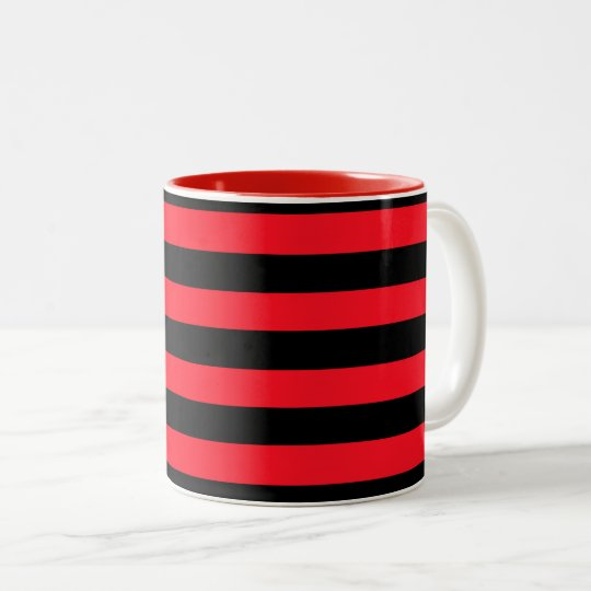 Red and Black Coloured striped pattern Two-Tone Coffee